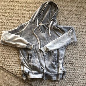 Ocean drive distressed grey hoodie side zipper sm